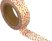 15mm Love My Tapes Washi - Red and Gold Foil Dots - Gold Foil Washi - Red Dot Washi -  Gifts for Her  - Planner Tape