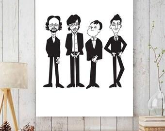 Phish 8x10 Print, Phish Art, Phish Beatles Art, Illustrated Wall Art, Illustration, Large Wall Art, Fine Art Prints, Creative wall Art