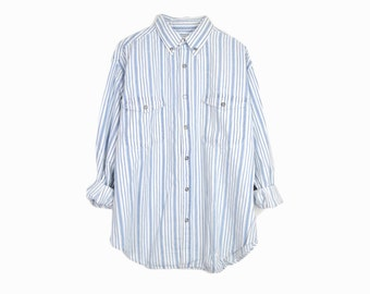 Vintage Men's Striped Chambray Shirt in Light Blue / 90s Chambray Shirt