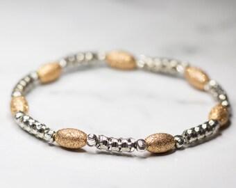 Rose gold & Silver Bracelet, Strechy, Shimmer Beads
