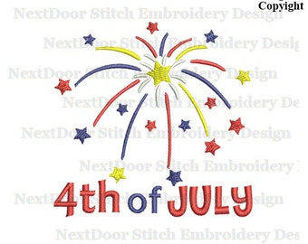 Firework with Stars  4th of July Machine Embroidery Design, July-002