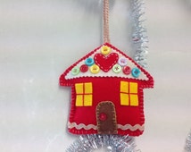 Handmade Red Felt Christmas  Ornament House with buttons