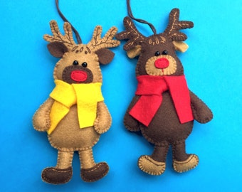 Handmade Felt Moose, Felt Elk, Moose Ornament, Christmas Ornament, Christmas Moose, Felt Animal, Forest Animal