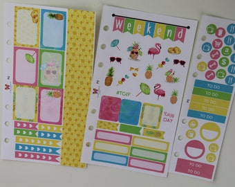 Tropical Pineapple & Flamingo Personal Planner Stickers | 6 hole punched for Filofax