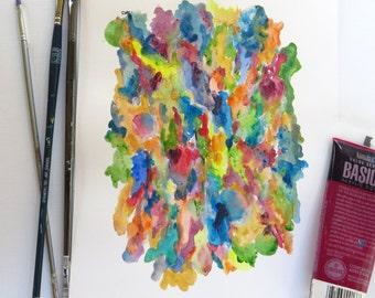 "Original acrylic abstract painting. Rainbow art, Colorful art, Fun art, Children room, Wall art. ""Melding rainbows"""