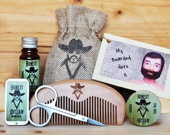 Honest Outlaw Beard Grooming Kit with Personalised Action Man Gift Card. Beard Oil, Balm, Wax, Comb, Scissors