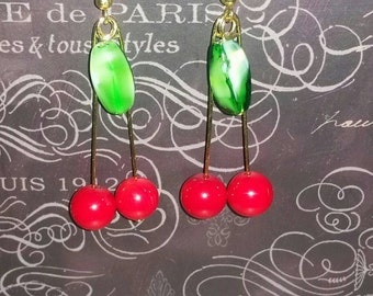 Cherry earrings/cherries/cherry/pinup/pinup doll/earrings/jewelry/vintage