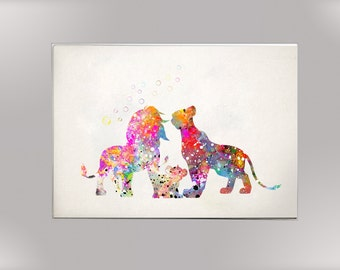 Lion King Family, Watercolor Print  Print Children's Wall Art Home Decor Wall Hanging