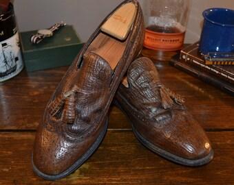 Longwing Brown Stamped Sharkskin Tassel Loafers Men's Size 9.5