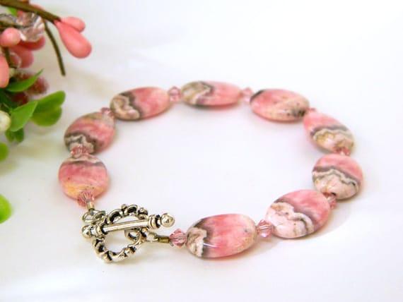 Pink Bracelet, Gemstone Bracelet, Handcrafted Bracelet, Feminine Bracelet,  Rhodochrosite, Swarovski Crystals, Silver, Pink and Gray
