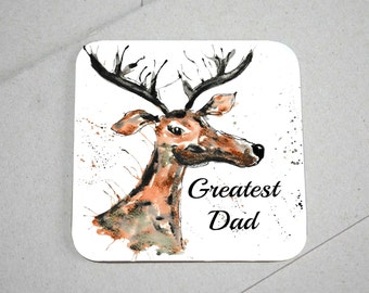 Dad coaster, wooden coaster, stag coaster, stag lover, table coaster, drink coaster, tile coaster, housewarming gift, coaster,  dad gift