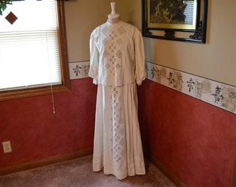 Edwardian Dress, Tea Dress, Embroidered Openwork, Antique Dress, #322