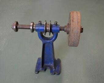 Dual Arbor Grinder, Vintage Belt Drive, Buffer Machine,  Bench Mount Arbor,  #339