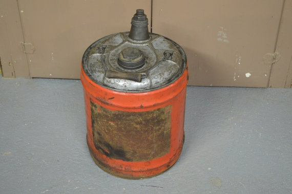 Vintage oil can 1940 39 s oil can 5 gallon can motor oil for Gallon of motor oil