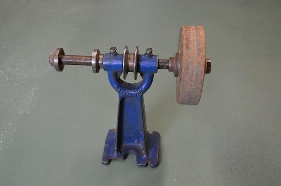 Dual Arbor Grinder Vintage Belt Drive Buffer Machine Bench