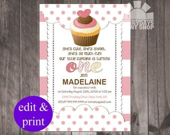 Baby's First Birthday, Girl, 1st Birthday, Our Little Cupcake, INSTANT DOWNLOAD, Printable DIY