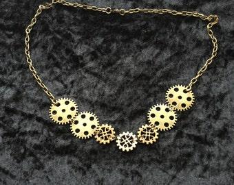 Steampunk cog necklace.