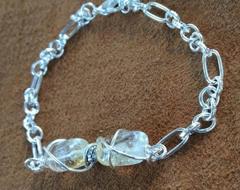 Handmade Silver Wire Wrapped Genuine Citrine Gemstone November BirthStone linked Bracelet jewelry, citrine bracelet
