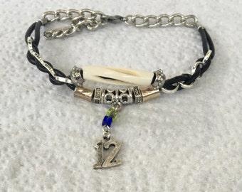 Handmade Seahawks NFL Football Bovin Bone Leather woven Silver Chain #12 Charm Bracelet Jewelry
