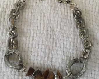 Handmade Men's Genuine Tigers Eye Gemstone stainless steel Wire Nut Square Nut Bracelet Jewelry