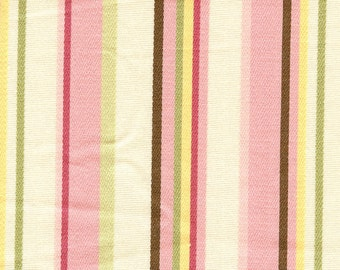 Pink Stripe Fabric with brown, green yellow and red stripes