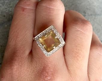 Citrine Ring, Engagement Ring, Yellow Engagement Ring, Silver Engagement Ring, November Birthstone, 8 Carat Citrine