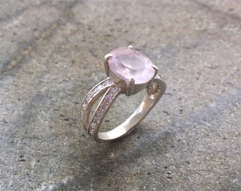 Rose Quartz Ring, Natural Rose Quartz, Pink Diamond Ring, Pink Engagement Ring, Love Ring, Promise Ring, Sterling Silver Ring, Pure Silver