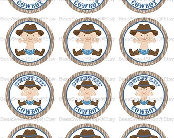 Cowboy Baby Shower Cupcake Topper Printable Digital File | Instant Download