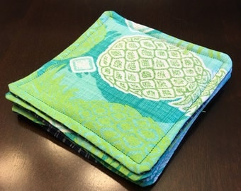 Blue Green Turquoise Coasters - Fabric Coasters - Bright Pineapple Coasters - 4 Quilted Coasters - Kitchen - Dining Room - Square Decoration