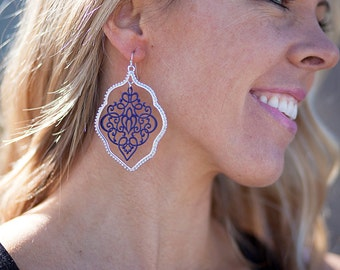 Painted Lace Earrings - Navy/Silver