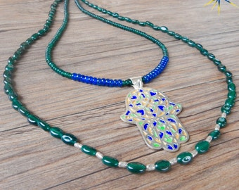 Boho-chic necklace with hand of Fatima Hamsa Moroccan Berber-Jade and silver stones (ref. PE287)