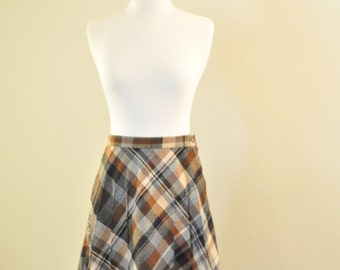 Vintage A-Line Brown Plaid Skirt