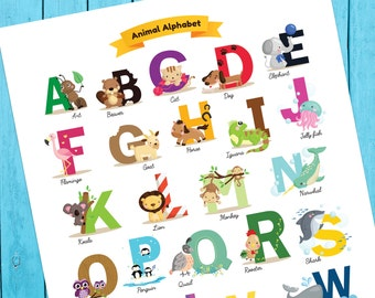 Nursery Print - Printable Animal Alphabet Poster, Baby Shower Gift, Animal Poster, ABCs, Kids Room Print, Nursery Print, Instant Download