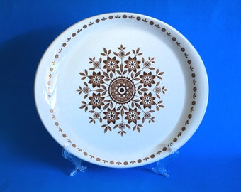 Alpine White Ironstone Carefree Dinner Plates - 50s Dinnerware Set Brown and White Floral - Wood & Sons - Made in England