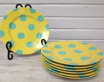 vintage Fitz & Lloyd polka dot salad plates dessert plates 309 fine porcelain turquoise dots on yellow set of 7