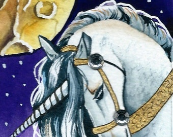 ACEO Dreaming Unicorn