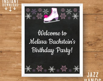 Ice Skating Birthday 8x10 Sign Template | DIY Printable | Ice Skating Party | Ice Skate Birthday | Instant Download