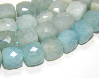 Aquamarine Gemstone Faceted beads / Aquamarine 3D Cube Beads / Size 9.2x7. mm Approx Code - 0203