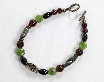 Gemstone & Glass Bracelet, Smoky Quartz, Jade, Black Onyx, Garnet, Glass and Brass Bracelet