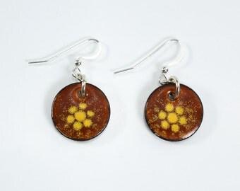 Metal Enamel Copper Penny Earrings Rust and Yellow Orange Earrings Silver Filled Round Earrings