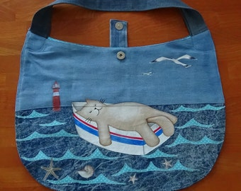 UniCat Bag - cat purse, recycled jeans, painted denim