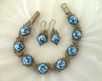 Enamel Wire Work Bracelet Earrings Set Hand Painted Violets