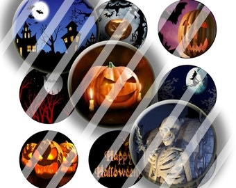 Digital Bottle Cap Collage Sheet - Halloween 1 - 1 Inch Circles Digital Images for Bottlecaps