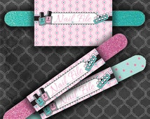 Spa Birthday Party Nail File Labels / Pink/Turquoise  / Instant Download  / Digital File