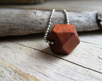 NECKLACE Wooden hexagon box to silver color STAINLESS STEEL finished ball chain of 80 cm long