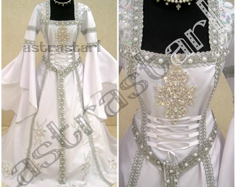 Medieval Wedding Dress S M 10 12 14 Silver Gothic Costume Witch Narnia Tudor Celtic