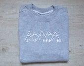Mountains sweater slouchy sweatshirt soft vintage womens mens sweatshirt graphic design drawing tee hiking sweater heather light gray