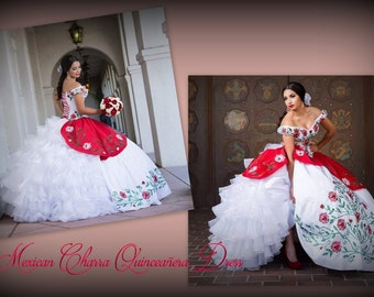 Mexican Quinceañera Dress. Frida Kahlo Inspired Ball Gown.