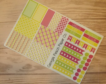 Lemonade Stand Themed Planner Stickers - Made to fit Vertical Layout