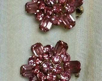 Vintage, Coro, pink rhinestone earrings, 1950-1960